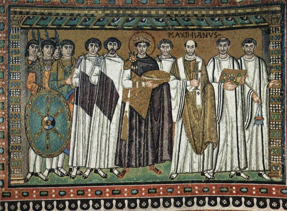 Mozaika przedstawiająca cesarza Justyniana Źródło: The Yorck Project, Mozaika przedstawiająca cesarza Justyniana , licencja: CC 0.
