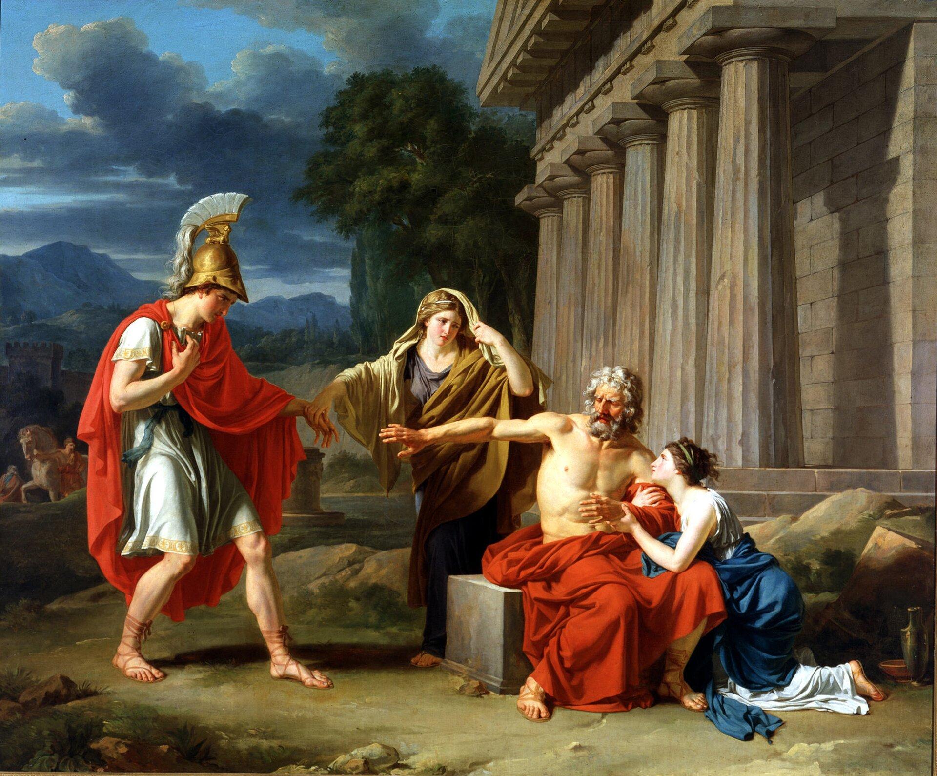 Edyp wKolonie Francuski malarz Jean Giroust zatytułował swoje dzieło Edyp wKolonie (1788). Taki sam tytuł nosi ostatnia tragedia Sofoklesa, wystawiona już po jego śmierci. Grecki twórca umieścił akcję wswej rodzinnej Kolonie (wiosce niedaleko Aten). Właśnie tam, zgodnie ztradycją, zmarł Edyp. Źródło: Jean-Antoine-Théodore Giroust, Edyp wKolonie, 1788, Dallas Museum of Art, domena publiczna.