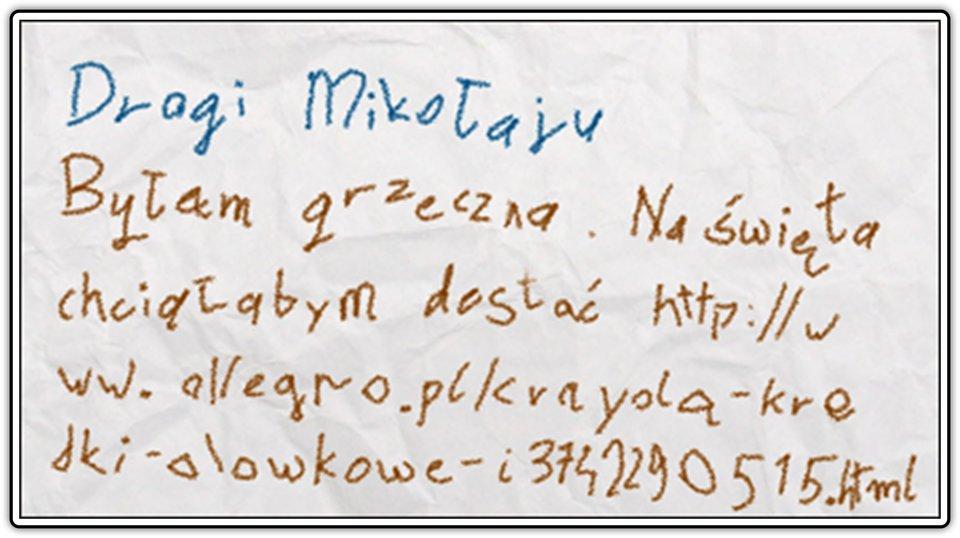 Fotografia przedstawiająca fragment listu do Mikołaja zawierajacego długi adres URL