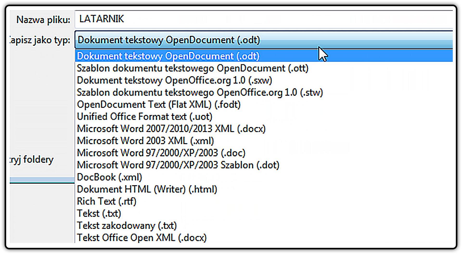 Zrzut okna zformatami zapisu dokumentu tekstowego wprogramie LibreOffice Writer