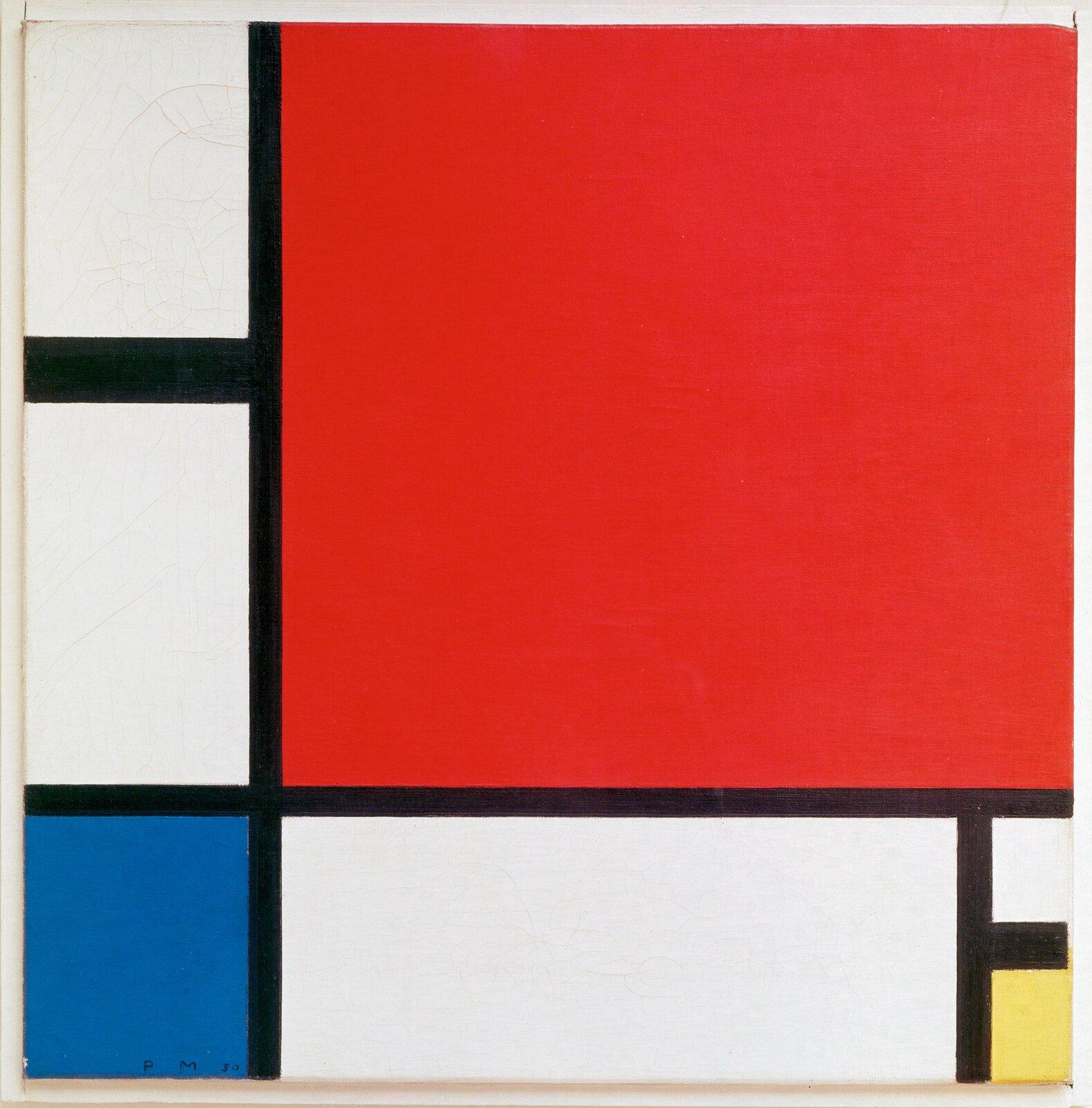 """Ilustracja przedstawia obraz Pieta Mondriana pt. """"Kompozycja zczerwonym, niebieskim iżółtym"""". Ukazuje on czarne pionowe ipoziome linie tworzące kolorowe prostokąty."""