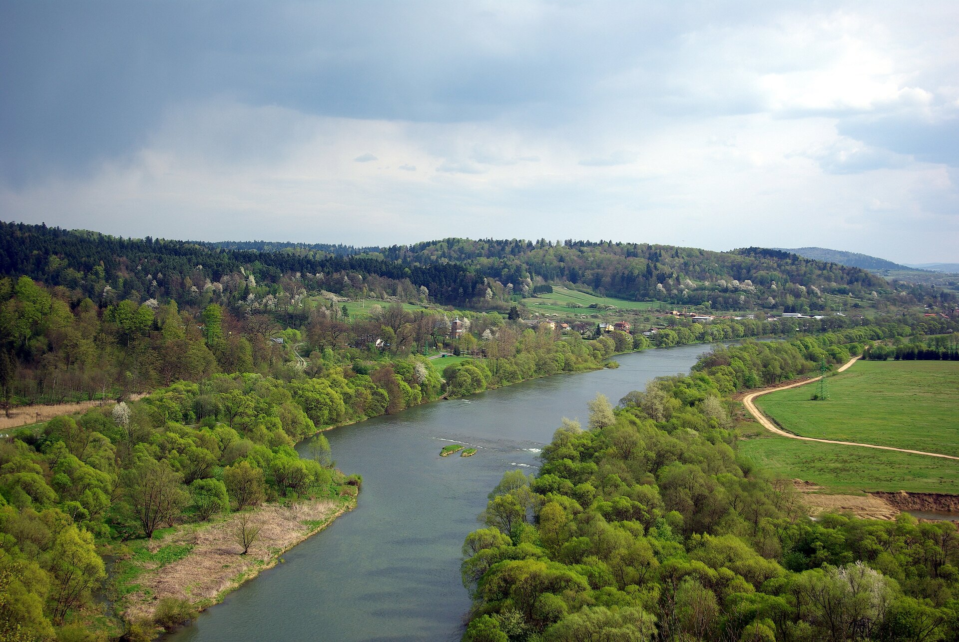 Fotografia prezentuje rzekę wjej środkowym biegu. Koryto rzeki dosyć szerokie, proste, po obu stronach koryta widoczne liczne drzewa ikrzewy.