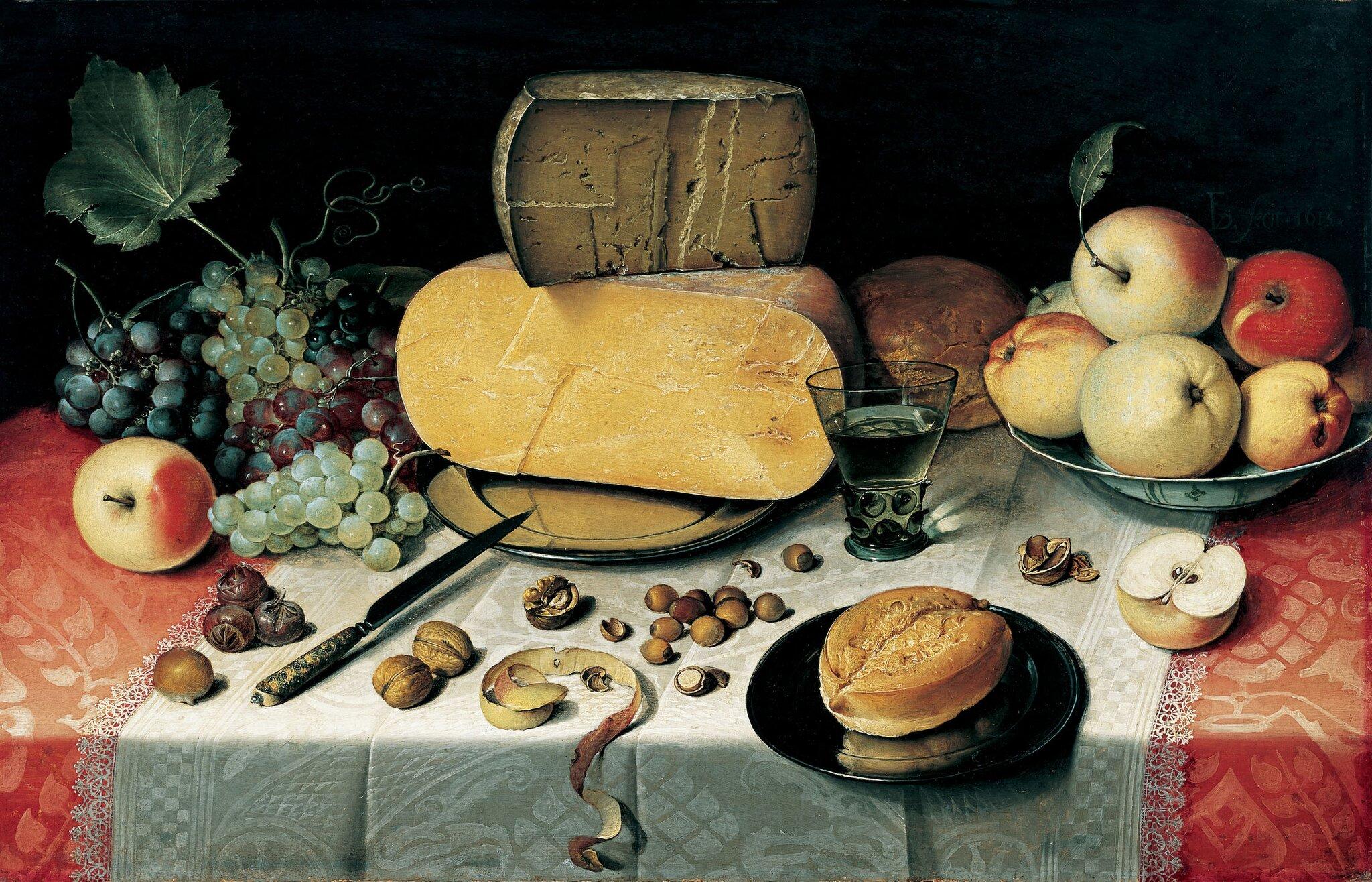 Martwa natura zowocami, orzechami iserem Źródło: Floris van Dyck, Martwa natura zowocami, orzechami iserem, 1613, olej na płótnie, Frans Hals Museum, Holandia, domena publiczna.