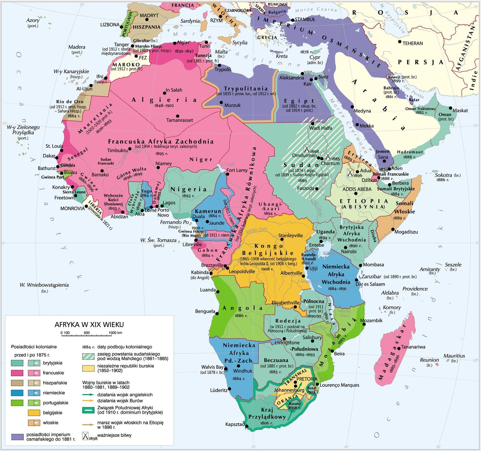 Afryka wXIX wieku Źródło: Krystian Chariza izespół, Afryka wXIX wieku, licencja: CC BY 3.0.