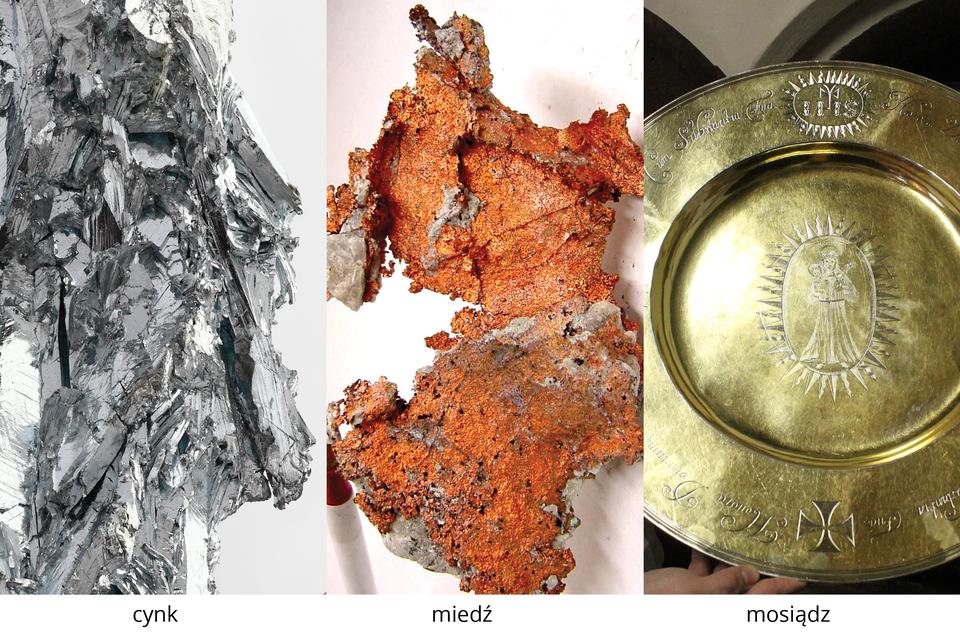 Ilustracja składająca się ztrzech fotografii,przedstawiająca trzy próbki metali podpisanych: Cynk, miedź, mosiądz.