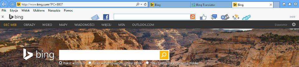 Zrzut fragmentu okna wyszukiwarki Bing