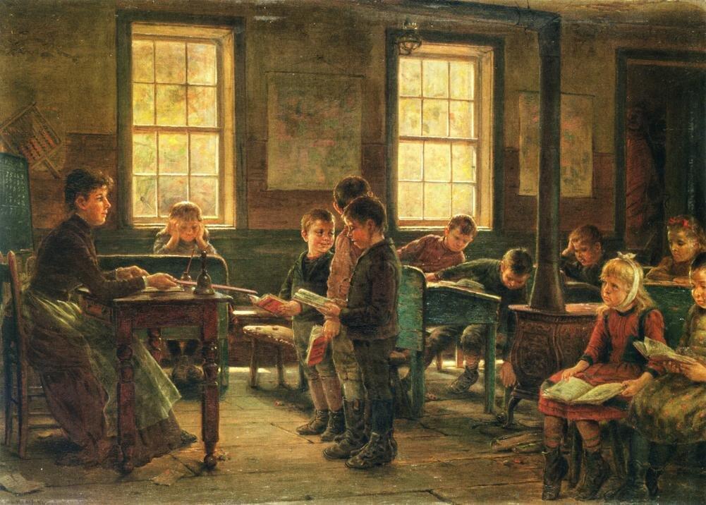 Wiejska szkoła Źródło: Edward Lamson Henry, Wiejska szkoła, 1890, olej na płótnie, Yale University Art Gallery, domena publiczna.