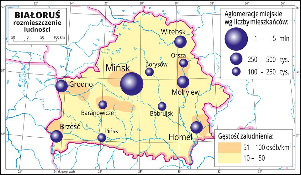 Ilustracja przedstawia mapę Białorusi. Na mapie przedstawiono rozmieszczenie ludności. Tło wkolorze żółtym oznacza gęstość zaludnienia od dziesięciu do pięćdziesięciu osób na jeden kilometr kwadratowy. Wpobliżu miast pomarańczowe plamy oznaczające obszary ogęstości zaludnienia od pięćdziesięciu jeden do stu osób na jeden kilometr kwadratowy. Na mapie różnej wielkości sygnatury (koła) obrazujące aglomeracje miejskie wg liczby mieszkańców: Mińsk – od jednego miliona do pięciu milionów mieszkańców. Homel, Mohylew, Witebsk, Brześć, Grodno od dwustu pięćdziesięciu do pięciuset tysięcy mieszkańców. Kilka mniejszych sygnatur poniżej dwustu pięćdziesięciu tysięcy mieszkańców. Mapa zawiera południki irównoleżniki, dookoła mapy wbiałej ramce opisano współrzędne geograficzne co dwa stopnie.