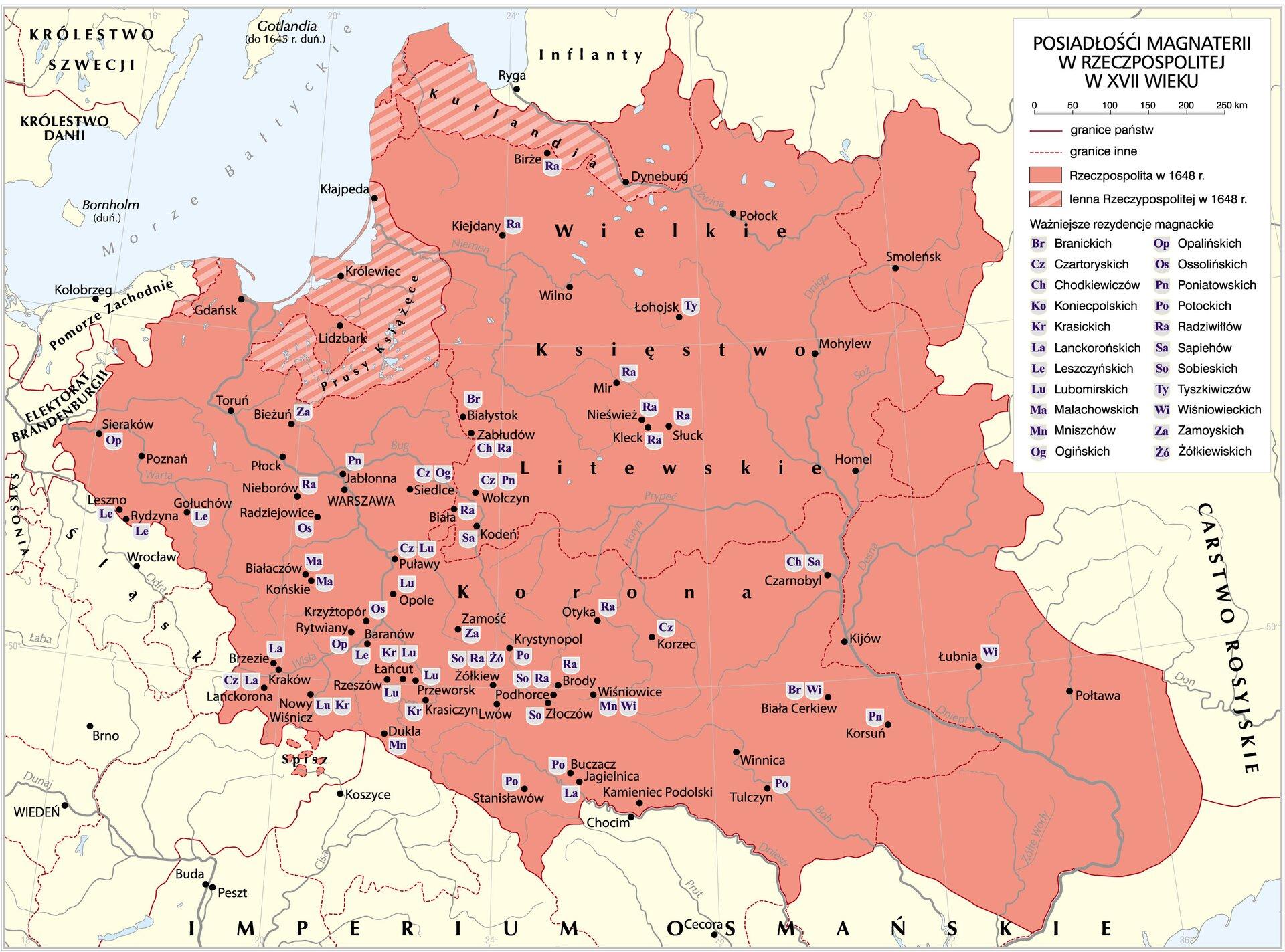 Posiadłości polskich magnatów wXVI-XVII wieku Posiadłości polskich magnatów wXVI-XVII wieku Źródło: Krystian Chariza izespół, licencja: CC BY-SA 3.0.