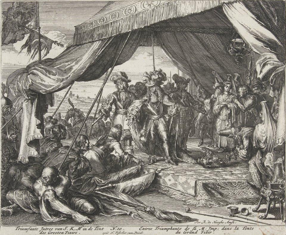 Oblężenie Wiednia - seria Pokonani Turcy klęczący przed Leopoldem II. Źródło: Romeyn de Hooghe, Oblężenie Wiednia - seria, 1684, akwaforta, Rijksmuseum (hol. Muzeum Państwowe) wAmsterdamie, domena publiczna.