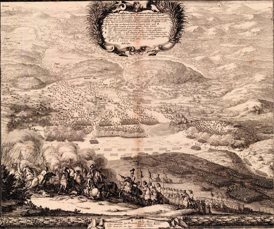 Samuel von Pufendorf, Oczynach Karola Gustawa, króla Szwecji, komentarzy ksiąg siedem, Norymberga 1696 3 października 1655 roku pod Wojniczemchorągwie polskie, prowadzone przezhetmana polnego koronnego Stanisława Lanckorońskiego ihetmana wielkiego koronnego Stanisława Rewerę Potockiego,miały nieznaczną przewagę liczebną nad armią szwedzką, jednakostrzelanieprzez ukrytych dragonów imuszkieterów atakującej husarii, doprowadziło do porażki. Źródło: Erik Dahlbergh, Samuel von Pufendorf, Oczynach Karola Gustawa, króla Szwecji, komentarzy ksiąg siedem, Norymberga 1696, 1655, domena publiczna.