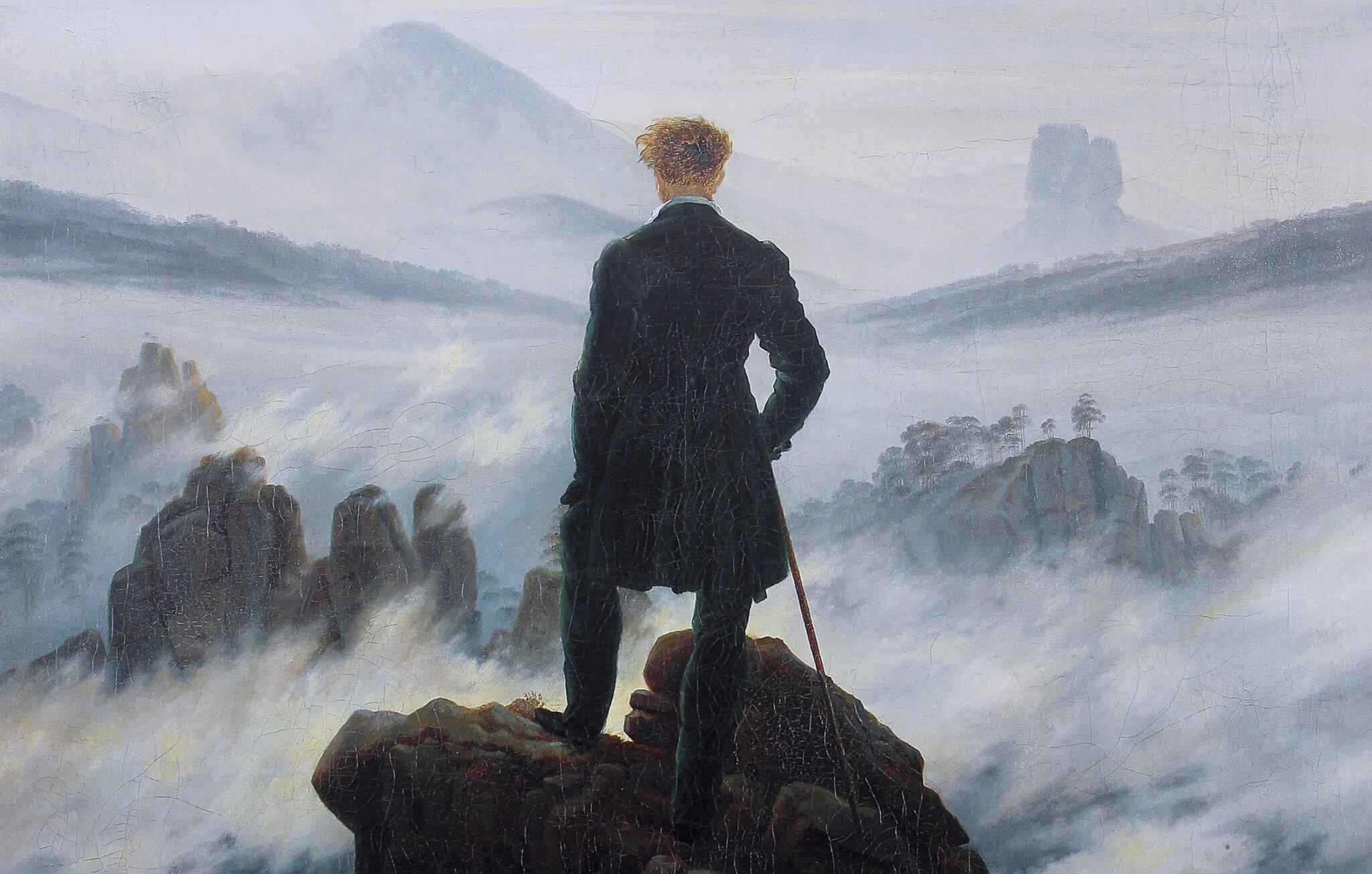 Wędrowiec nad morzem mgły [fragment] Źródło: Caspar David Friedrich, Wędrowiec nad morzem mgły [fragment], 1818, olej na płótnie, Hamburger Kunsthalle, Niemcy, domena publiczna.