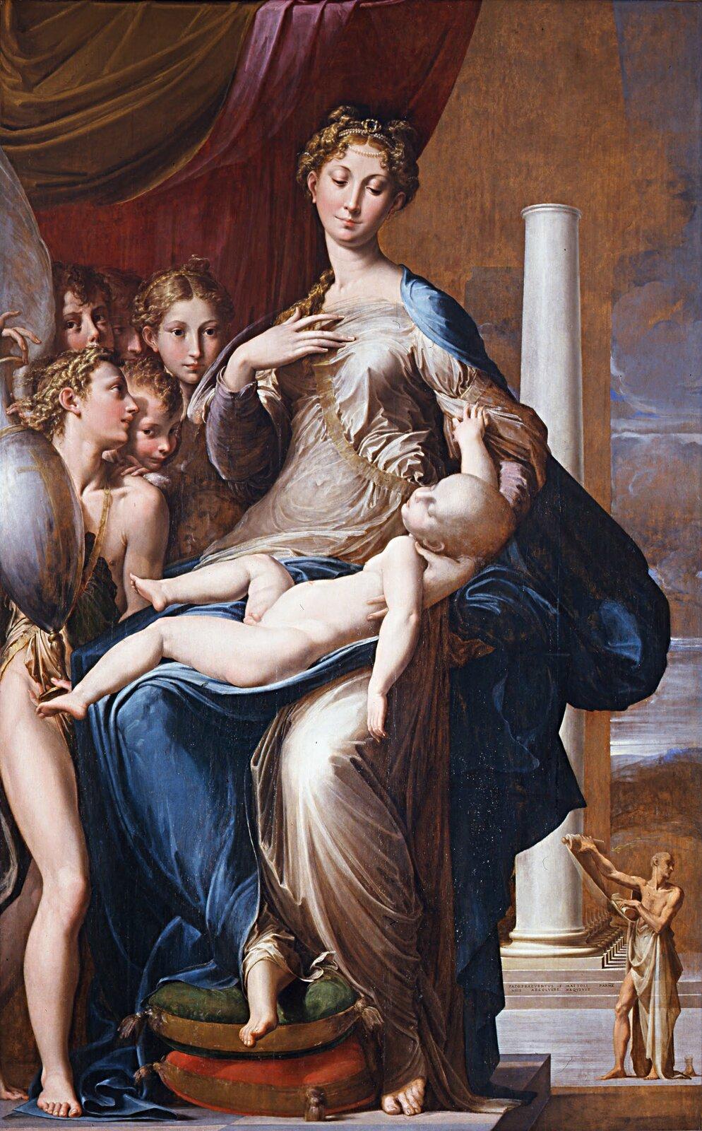 Madonna zdługą szyją Źródło: Parmigianino, Madonna zdługą szyją, 1534-1540, olej na płótnie, Uffizi Gallery we Florencji, domena publiczna.