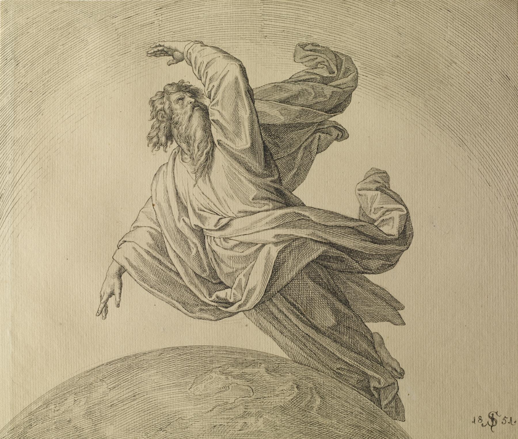 Bóg Ojciec tworzący świat Źródło: Carl Ferdinand Sohn, Bóg Ojciec tworzący świat, 1851, rysunek piórem iatrament na papierze, Walters Art Museum, USA, domena publiczna.