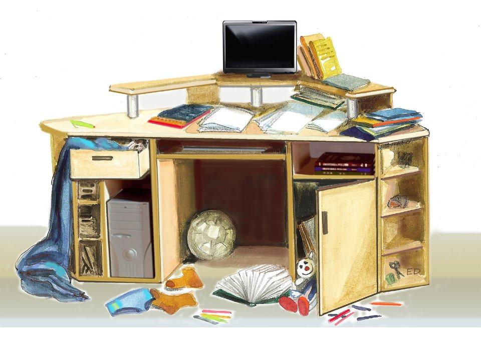 Ilustracja przedstawiająca pokój, wktórym nie jest zachowany porządek