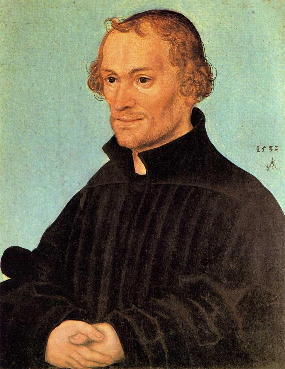 Filip Melanchton (właściwiePhilipp Schwartzerd) Źródło: Lucas Cranach Starszy, Filip Melanchton (właściwiePhilipp Schwartzerd), 1532, domena publiczna.