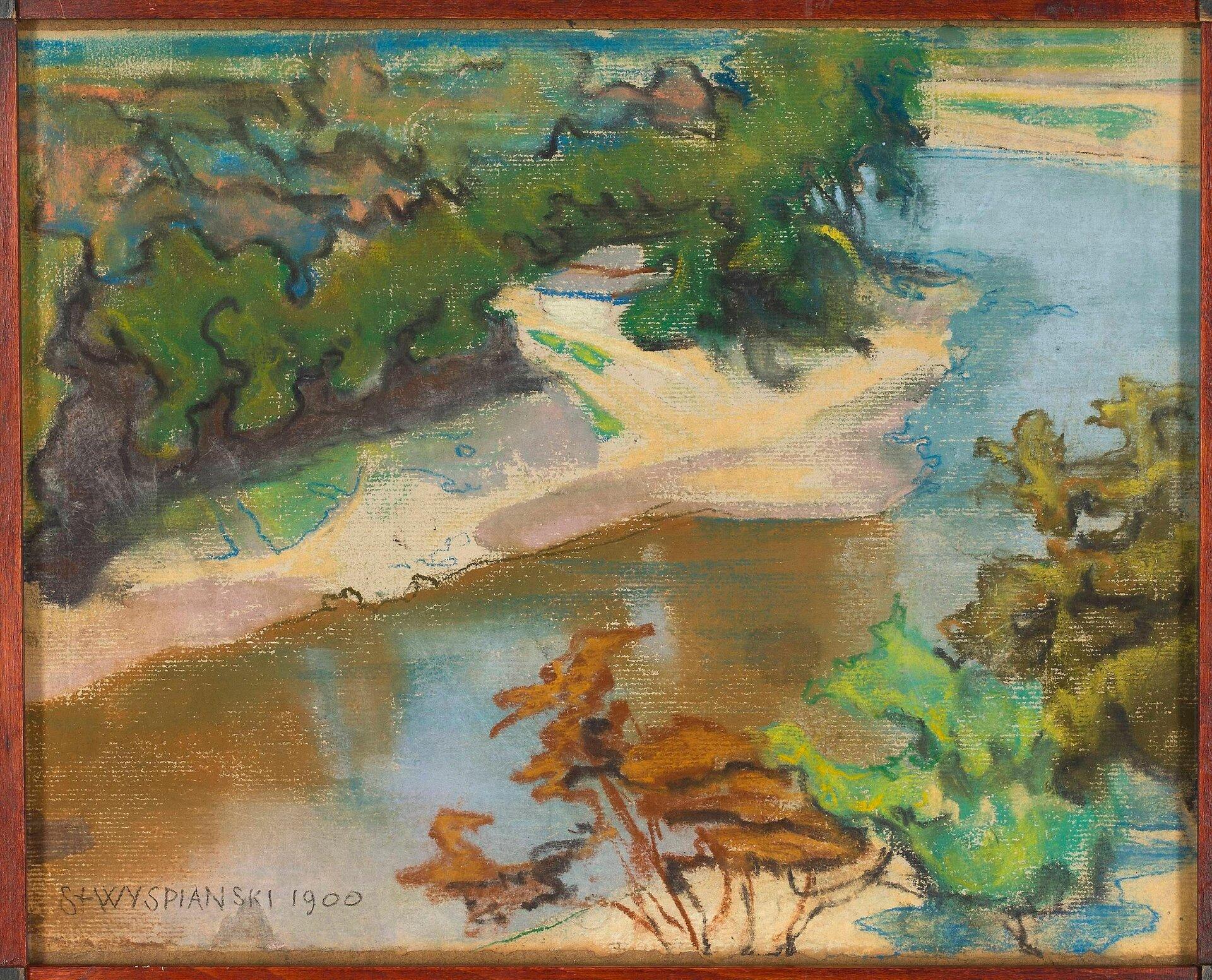 """Ilustracja przedstawia obraz """"Pejzaż zrzeką"""" autorstwa Stanisława Wyspiańskiego. Dzieło ukazuje krajobraz zzakolem rzeki, nad której piaszczystymi brzegami wznosi się roślinność. Kadr obrazu kończy się przed linią horyzontu, błękitne niebo ukazane jest jedynie wodbiciu wody. Artysta przy pomocy różnych środków artystycznych takich jak: zróżnicowana plama barwna, przecierka, delikatna linia konturu, stara się odzwierciedlić naturę. Wykonana techniką pasteli na papierze kompozycja utrzymana jest wciepłej tonacji. Dominującymi barwami są zieleń, beż ibłękit."""