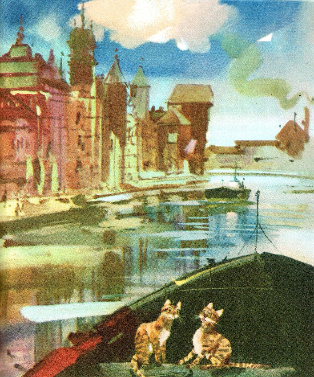 """Ilustracja przedstawia grafikę zksiążki dla dzieci Jana Tettera """"Ryży, Placek itrzynastu zbójców"""", na której znajdują się dwa koty płynące łódką po rzece wmieście. Po lewej stronie widoczne są budynki."""