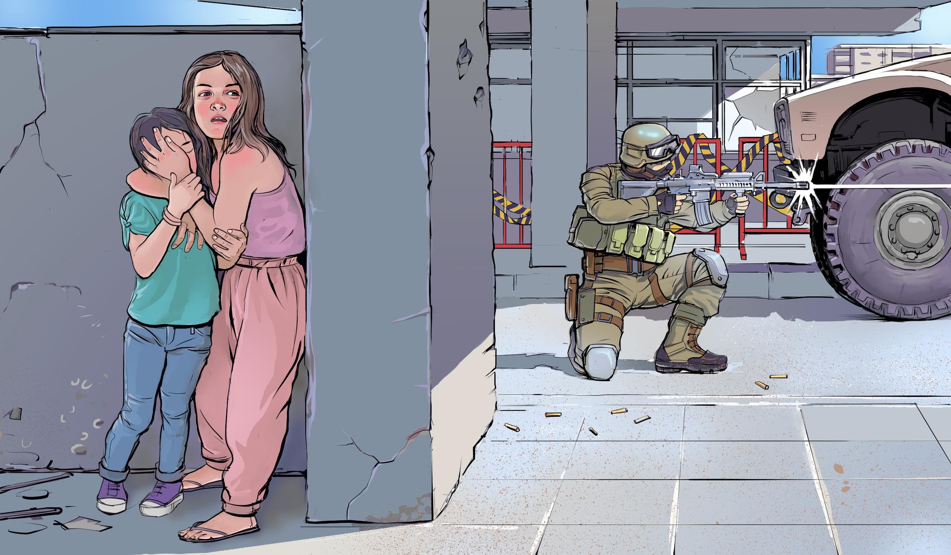 Kolorowa ilustracja przedstawia walki na ulicy. Po lewej stronie ściana budynku. Przy ścianie stoi dwoje dzieci. Dzieci chowają się. Dziewczynka wwieku około 8 lat. Obok, po lewej dziecko wwieku około 5 lat. Starsza iwyższa dziewczynka zakrywa lewą dłonią twarz dziecka. Po prawej, wgłębi ilustracji, ulica. Na ulicy żołnierz klęczący na prawym kolanie trzyma karabin maszynowy istrzela wlewą stronę. Po lewej wóz bojowy. Wgłębi budynki.