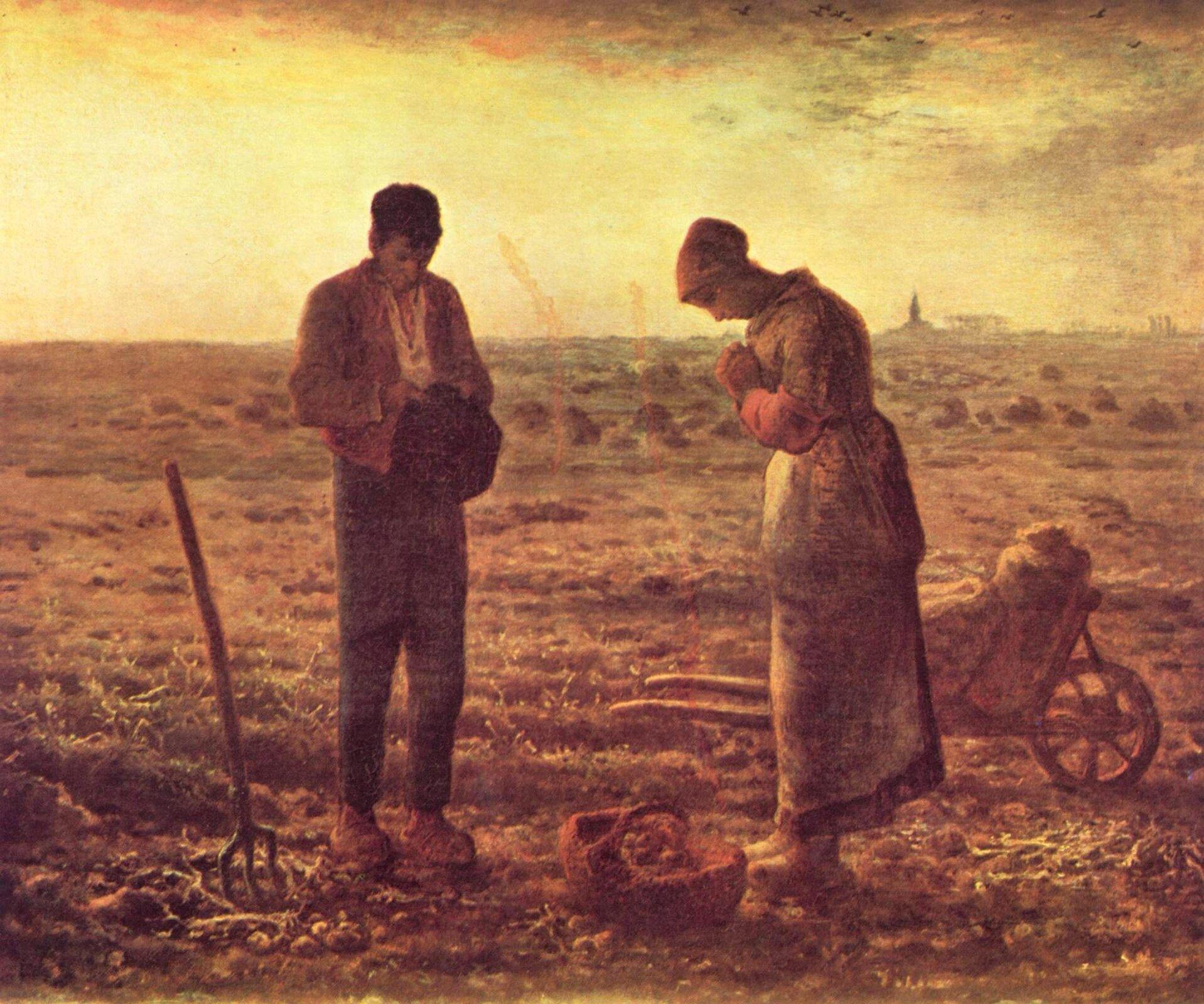 Jean-FrançoisMillet, Anioł Pański, 1857–1859 Jean-FrançoisMillet, Anioł Pański, 1857–1859 Źródło: domena publiczna.