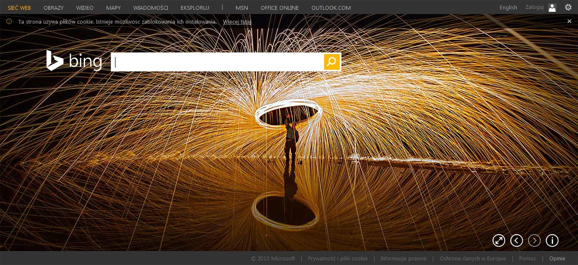 Okno wyszukiwarki Bing