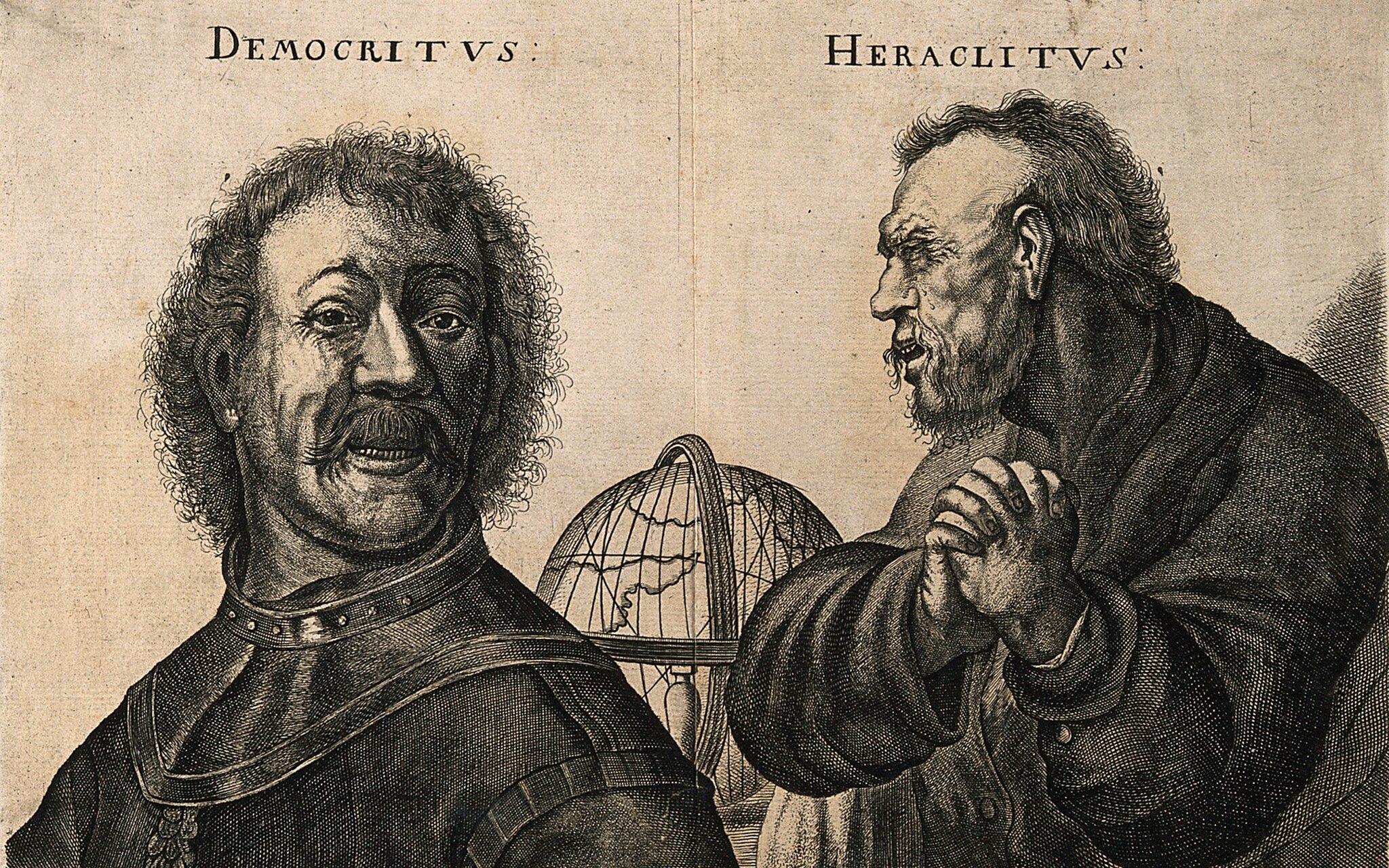 Śmiejący się Demokryt ipłaczący Heraklit nad globem Źródło: W. Hollar (oryg. Rembrandt van Rijn), Śmiejący się Demokryt ipłaczący Heraklit nad globem, fresk, licencja: CC BY-SA 4.0.