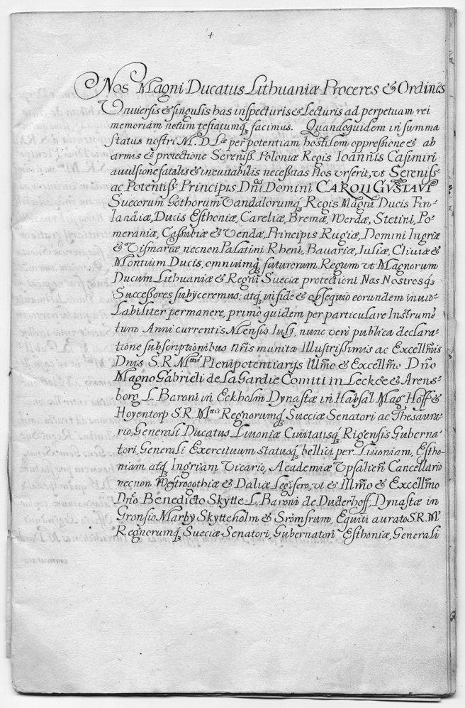 Tekst układu wKiejdanach – kopia zXVII w. Układ wKiejdanach,zwany takżeUmową Kiejdańską-20 października1655 rokuhetman wielki litewskiJanusz Radziwiłłijego kuzyn, koniuszy wielki litewskiBogusław Radziwiłł,poddalipod protekcjęSzwecjicałeWielkie Księstwo Litewskie. Źródło: Tekst układu wKiejdanach – kopia zXVII w., 1655, domena publiczna.
