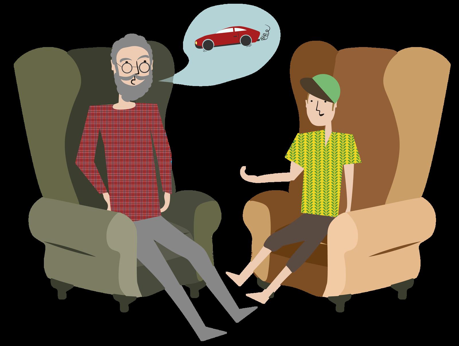 Rysunek - brodaty mężczyzna wokularach ichłopiec wzielonej czapce siedzą naprzeciwko siebie na fotelach. Nad głową mężczyzny jest dymek zrysunkiem czerwonego samochodu.