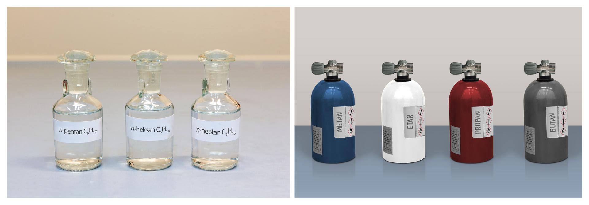 Dwa zdjęcia na pierwszym widać trzy buteleczki z: pentanem C5H12, heksanem C6H14 oraz heptanem C7H16. Drugie zdjęcie przedstawia cztery butle zgazami: metanem, etanem, propanem oraz butanem.