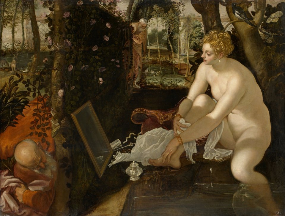 Zuzanna wkąpieli Źródło: Tintoretto, Zuzanna wkąpieli, 1550, olej na płótnie, Kunsthistorisches Museum, domena publiczna.