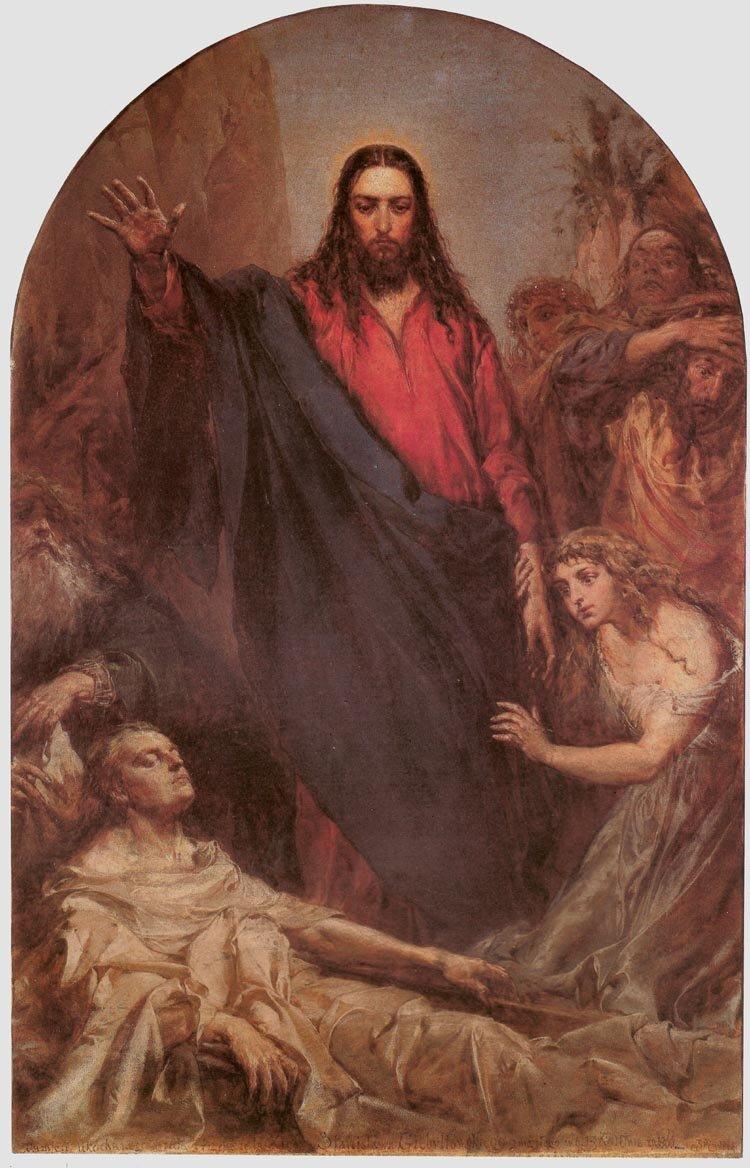Wskrzeszenie Łazarza Źródło: Jan Matejko, Wskrzeszenie Łazarza, 1867, Parafia wNowym Wiśniczu, domena publiczna.