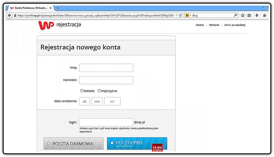 Slajd 2 galerii zrzutów okien zakładania konta pocztowego na wybranych portalach internetowych