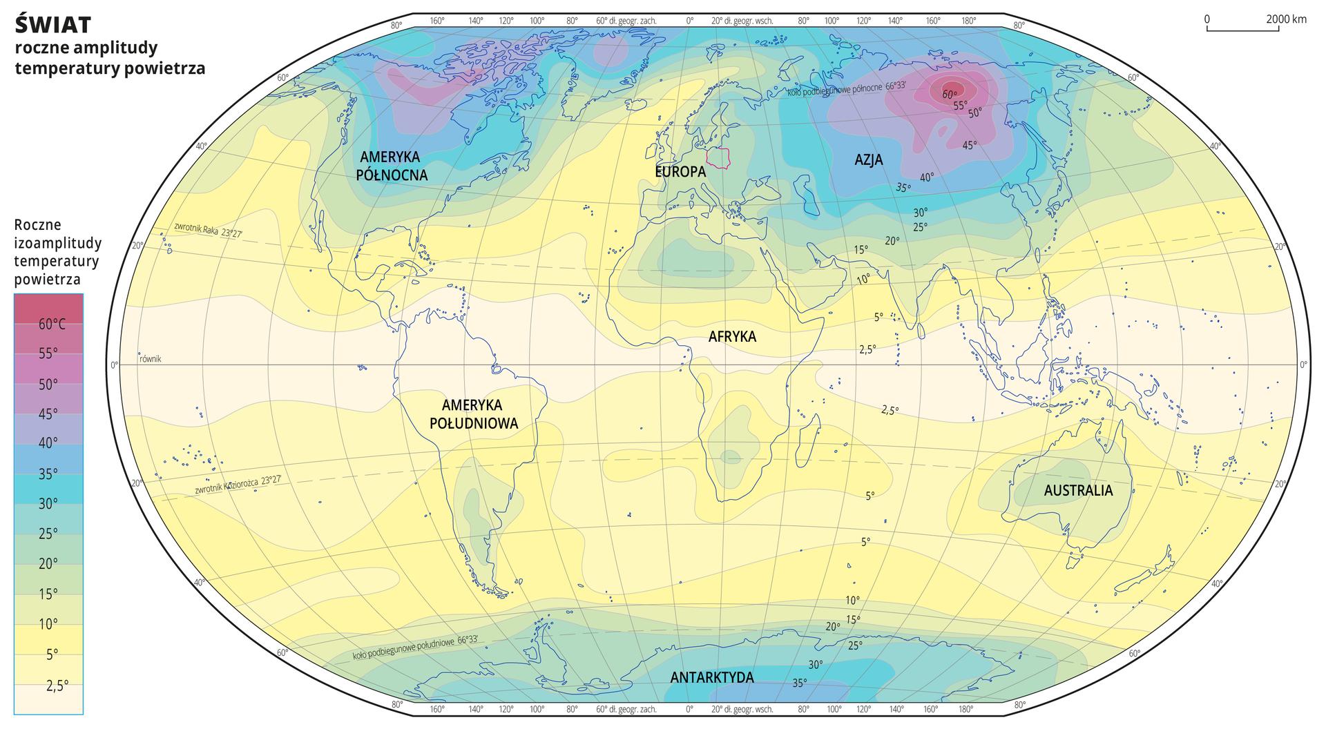 Ilustracja przedstawia mapę świata. Opisano kontynenty. Na mapie kolorami zaznaczono roczne amplitudy temperatury powietrza. Centralną część mapy pokrywa kolor jasnożółty. Na północy kolor żółty przechodzi wzielony iniebieski do czerwonego, ana południu wzielony do niebieskiego. Mapa pokryta jest równoleżnikami ipołudnikami. Dookoła mapy wbiałej ramce opisano współrzędne geograficzne co dwadzieścia stopni. Po lewej stronie mapy wlegendzie umieszczono prostokątny pionowy pasek. Pasek podzielono na czternaście części. Ugóry – odcienie czerwonego, dalej fioletowy, środek odcienie niebieskiego, dalej odcienie zielonego, na dole żółty do jasnożółtego. Linie oddzielające poszczególne kolory oznaczają roczne izoamplitudy temperatury powietrza isą opisane co pięć stopni, dodatkowo wydzielona jest izoamplituda dwa ipół stopnia Celsjusza, która jest najniższą roczną izoamplitudą temperatury powietrza opisaną na mapie iwlegendzie. Najwyższa roczna izoamplituda temperatury powietrza wynosi sześćdziesiąt stopni Celsjusza. Kolor żółty oznacza najniższe roczne izoamplitudy temperatury powietrza ipokrywa tereny wzdłuż równika, kolor czerwony obrazuje najwyższe roczne izoamplitudy temperatury powietrza ipokrywa północne tereny Azji iAmeryki Północnej.