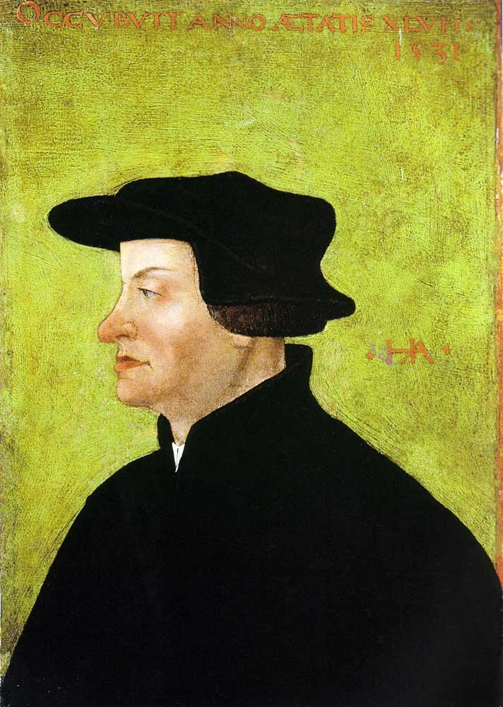 Ulrych Zwingli Źródło: Hans Asper, Ulrych Zwingli, ok. 1531, The Winterthur Museum of Art, domena publiczna.