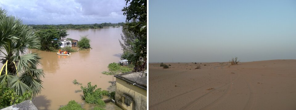 Powódź wywołana deszczami monsunowymi wIndiach; Pustynia na Płw. Arabskim – klimat zwrotnikowy suchy