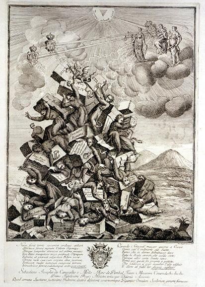 Likwidacja zakonu jezuitów w1773 roku - przedstawienie alegoryczne Likwidacja zakonu jezuitów w1773 roku - przedstawienie alegoryczne Źródło: 1773, domena publiczna.