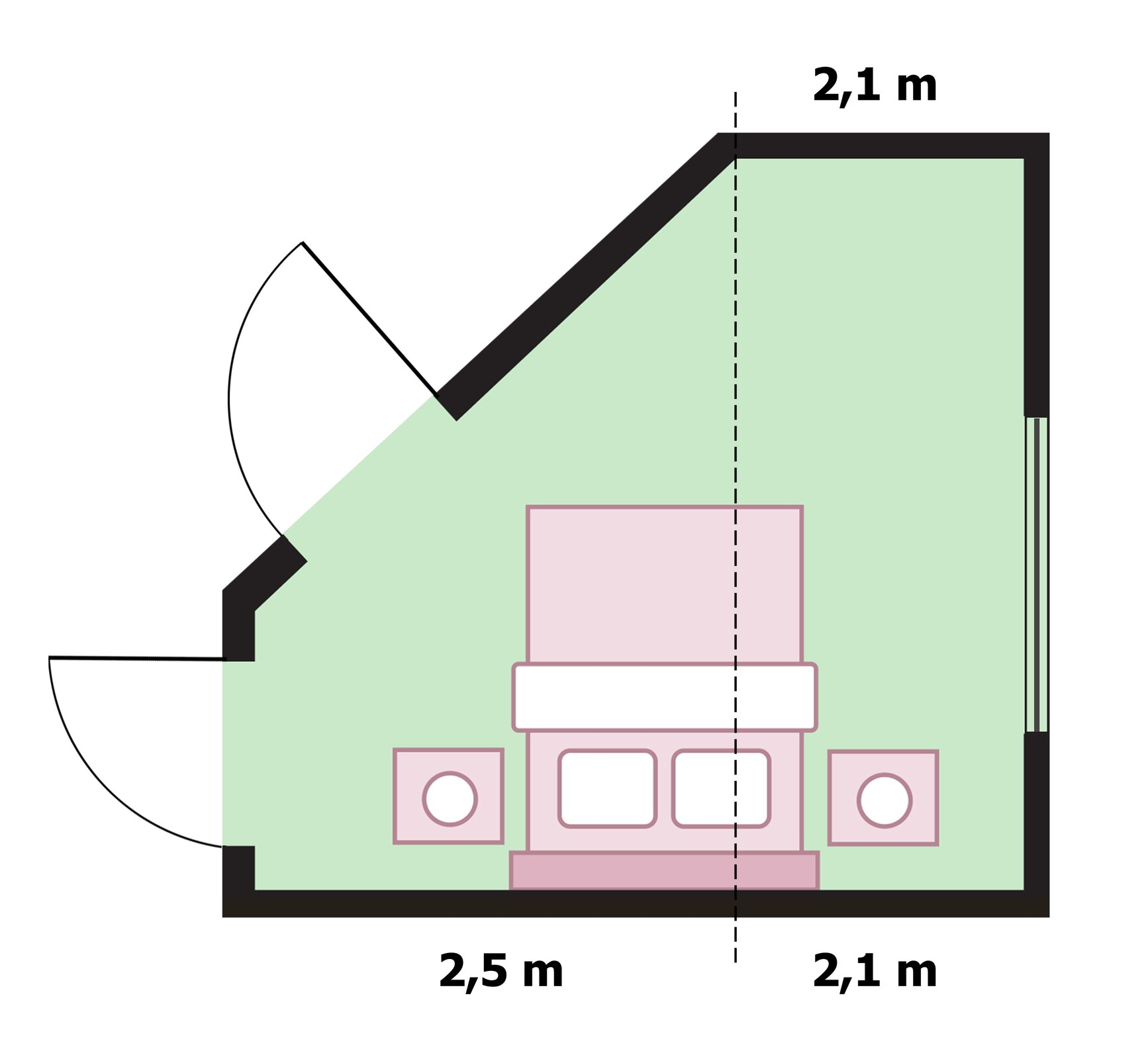 Rysunek podłogi mieszkania wkształcie figury złożonej ztrapezu prostokątnego opodstawach 1,4 mi2,6 moraz wysokości 2,5 miprostokąta obokach 2,1 mi2,6 m. Rysunek podłogi mieszkania zoznaczonymi wymiarami ścian do malowania 2,1 m, 2,1 mi2,5 m.