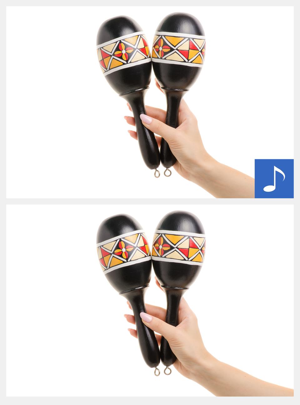 Ilustracja interaktywna przedstawia marakasy. Zwyglądu przypominają jajka zprzymocowanym do nich uchwytem. Są one koloru czarnego, zkolorowym wzorem na bokach. Są trzymane wdłoni. Po kliknięciu na ilustrację zostanie wyświetlona informacja dodatkowa, oraz odtworzony dźwięk tego instrumentu.