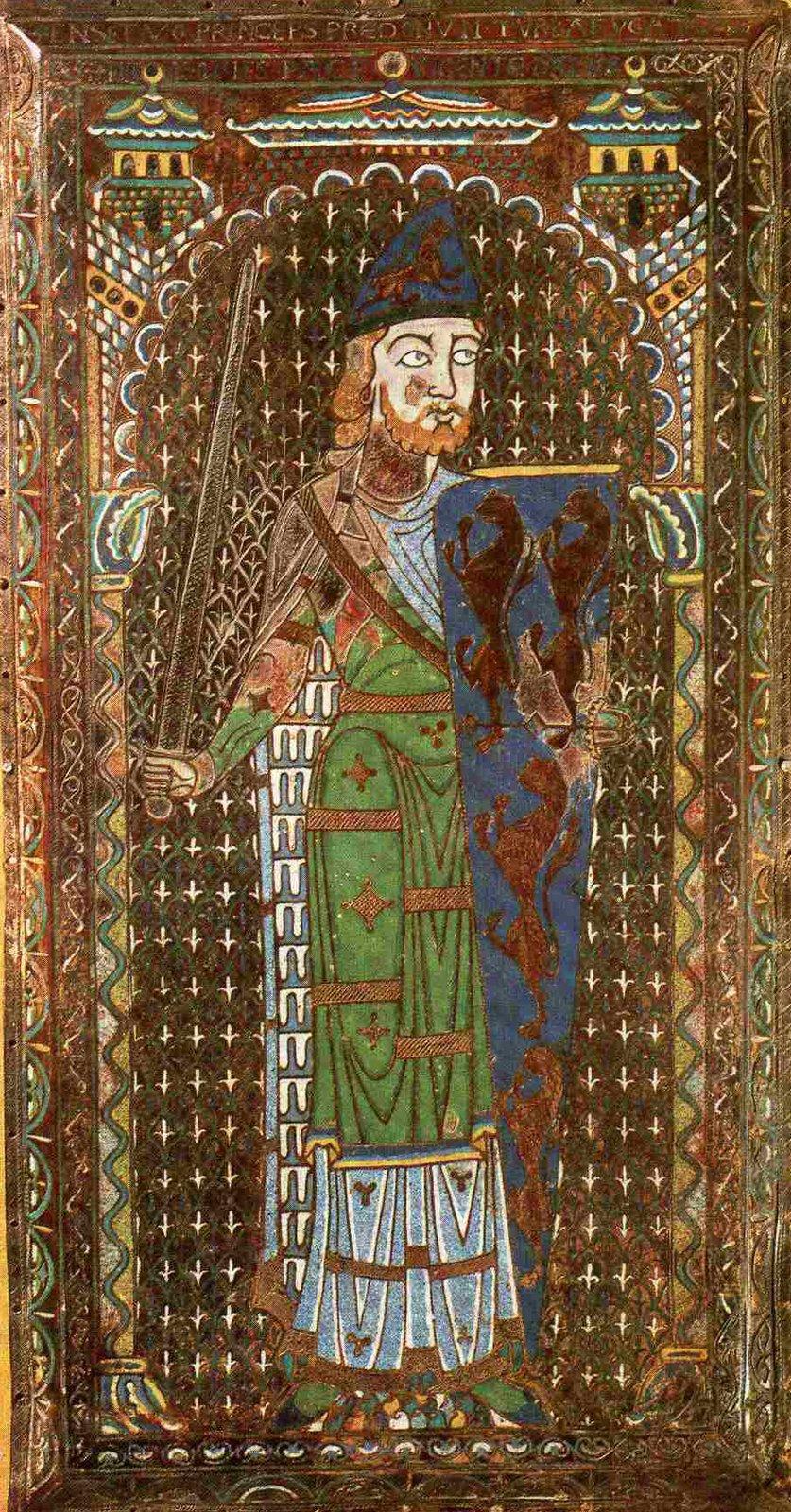 Wizerunek Geoffrey Plantagenet, hrabiego Andegawenii na jego grobie. Źródło: Wizerunek Geoffrey Plantagenet, hrabiego Andegawenii na jego grobie., domena publiczna.