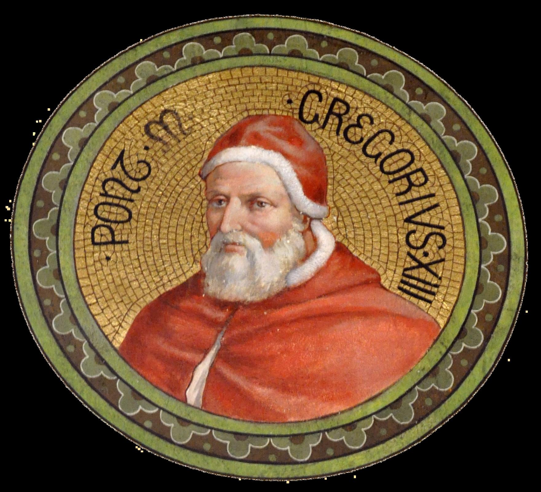 Ilustracja przedstawia portret papieża Grzegorza trzynastego. Portret wkształcie koła. Głowa itors skierowane wlewo. Twarz pokryta zmarszczkami. Nos duży, ostro zakończony. Wąsy ibroda szarobiałe. Broda zakrywa szyję iłączy się zbokobrodami. Papież ubrany wtradycyjny czerwony strój. Czerwona czapka obszyta paskiem zbiałego futra. Czapka zasłania włosy nad czołem oraz uszy. Ramiona zakryte czerwoną peleryną. Kaptur peleryny obszyty wąskim paskiem białego futra. Tło portretu złote, wformie drobnej mozaiki. Krawędź portretu otacza szeroki pas wkolorze zielonym zczarną obwódką.