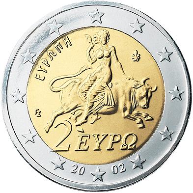 Grecki rewers 2 euro Źródło: Grecki rewers 2 euro, 2002, domena publiczna.