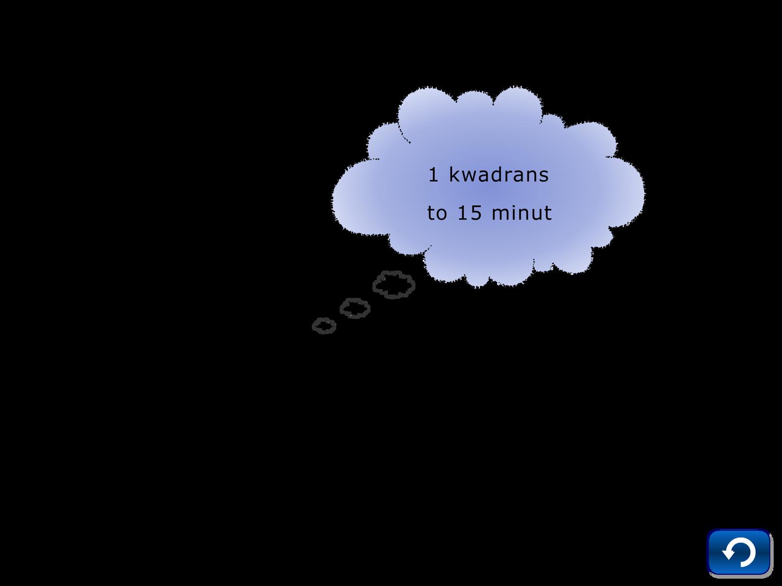 Pamięciowe dzielenie, zadanie 7, chmurka, kwadrans