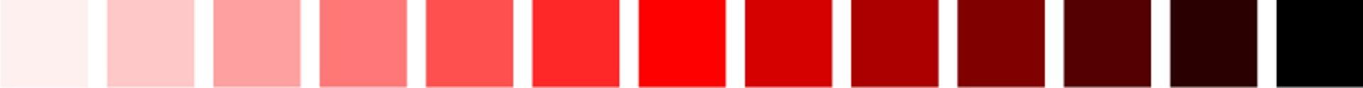Ilustracja przedstawia jasność koloru. Na zdjęciu znajduje się próbka koloru czerwonego, począwszy od bieli, skończywszy na czerni.