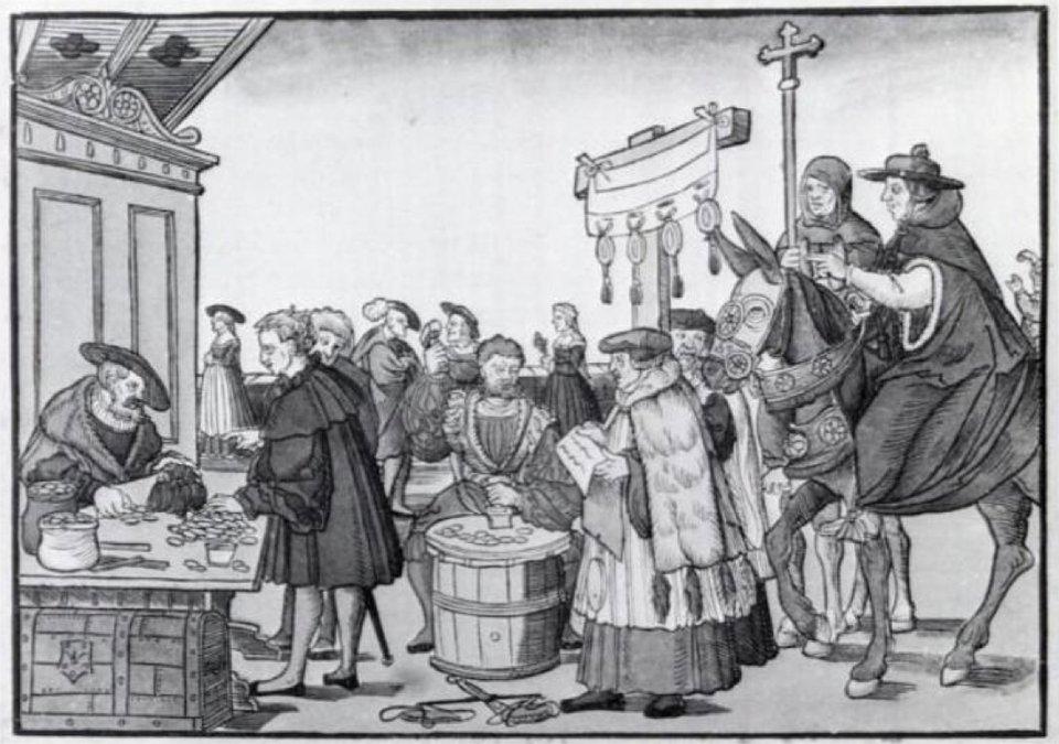 Pytanie do mincerza Johann Tetzel, dominikanin, przeor klasztoru wGłogowie iinkwizytor, przedstawiony jako handlarz odpustami. Źródło: Jörg (Jan) Breu Starszy, Pytanie do mincerza, ok. 1530, domena publiczna.