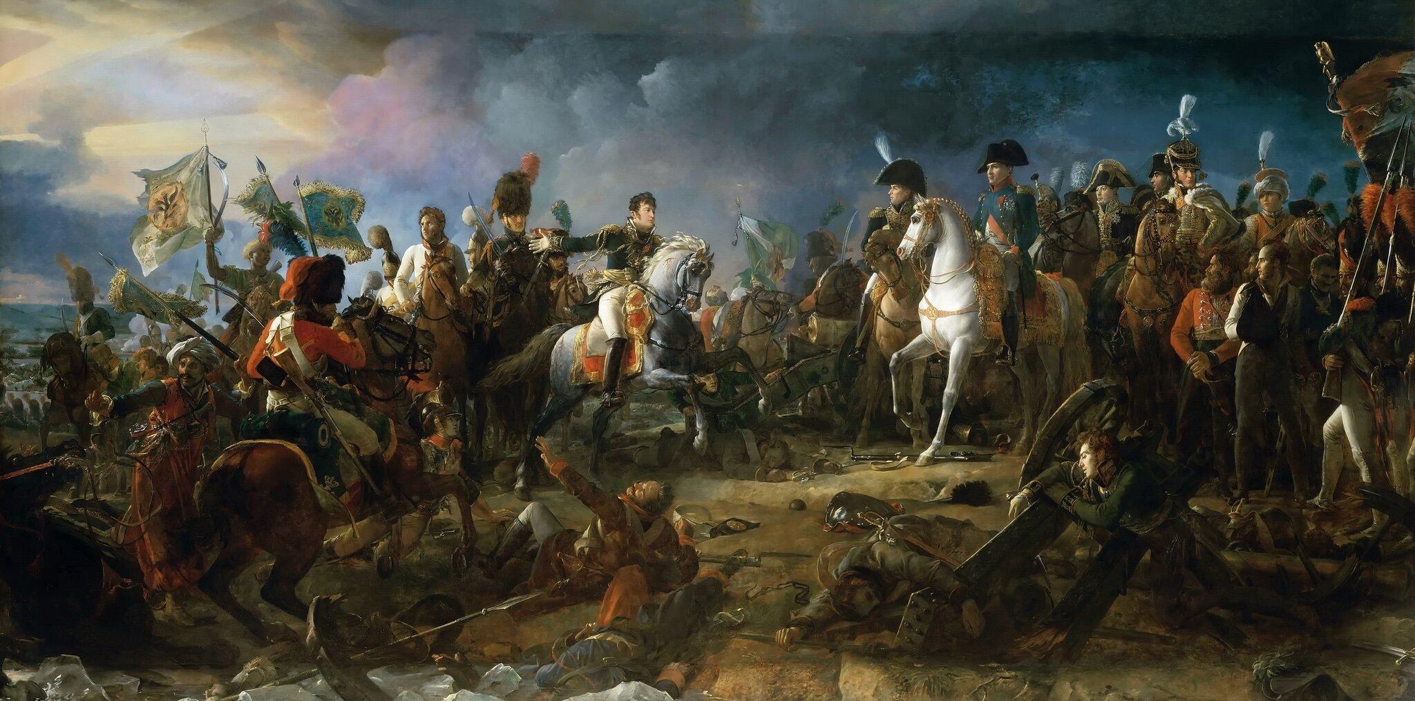 Bitwa pod Austerlitz Źródło: François Gérard, Bitwa pod Austerlitz, 1810, pałac wWersalu, domena publiczna.