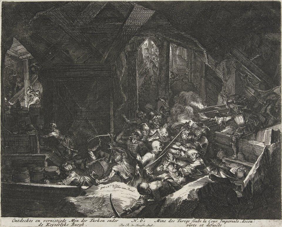 Oblężenie Wiednia - seria Usuwanie Turków zpodkopu pod cesarską twierdzą. Źródło: Romeyn de Hooghe, Oblężenie Wiednia - seria, 1684, akwaforta, Rijksmuseum (hol. Muzeum Państwowe) wAmsterdamie, domena publiczna.