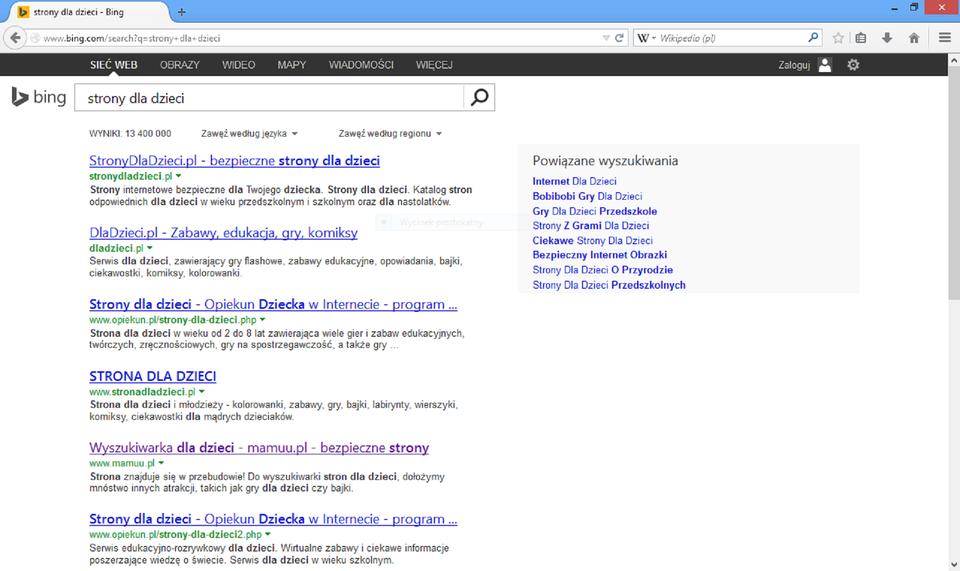 Zrzut okna wyszukiwarki Bing zwykazem znalezionych adresów stron dla dzieci