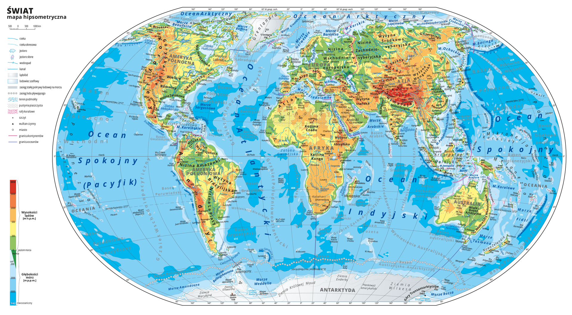 Ilustracja przedstawia mapę hipsometryczną świata. Wobrębie lądów występują obszary wkolorze zielonym, żółtym, pomarańczowym iczerwonym. Morza zaznaczono kolorem niebieskim. Cienką czerwoną linią zaznaczono kontur Polski. Czerwoną linią oznaczono granicę kontynentów. Na mapie opisano nazwy kontynentów, półwyspów, wysp, głównych nizin, wyżyn ipasm górskich, pustyń, oceanów, mórz, basenów, głównych rzek ijezior . Oznaczono iopisano główne miasta. Obszar Antarktydy iGrenlandii oznaczono biało-szarym gradientem, obrazującym lądolód. Wzdłuż równoleżnika sześćdziesiąt stopni szerokości geograficznej południowej przebiega zasięg lodu pływającego oznaczony przerywaną linią kropkowaną. Podobna linia przebiega wzdłuż wybrzeży Grenlandii , Kurylów iPółwyspu Kamczatka na północy. Mapa pokryta jest równoleżnikami ipołudnikami. Dookoła mapy wbiałej ramce opisano współrzędne geograficzne co dwadzieścia stopni. Po lewej stronie mapy na dole wlegendzie umieszczono prostokątny pionowy pasek. Pasek podzielono na dziewięć części. Ugóry – czerwony iciemnopomarańczowy, dalej jasnopomarańczowy iżółty, kolejno cztery odcienie niebieskiego od jasnego do ciemnoniebieskiego. Wlegendzie opisano izobaty: dwieście metrów poniżej poziomu morza, dwa tysiące metrów poniżej poziomu morza, pięć tysięcy metrów poniżej poziomu morza . Opisano poziomice: zero metrów (poziom morza), dwieście metrów powyżej poziomu morza, pięćset metrów powyżej poziomu morza, dwa tysiące metrów powyżej poziomu morza, pięć tysięcy metrów powyżej poziomu morza. Po lewej stronie mapy ugóry wlegendzie umieszczono znaki występujące na mapie wraz zich opisami: rzeka, rzeka okresowa, jezioro, jezioro słone, wodospad, kanał, lądolód, lodowiec szelfowy, zasięg stałej pokrywy lodowej na morzu, zasięg lodu pływającego, teren podmokły, pustynia piaszczysta, rafy koralowe, szczyt, wulkan czynny, miasto, granica kontynentów, granica oceanów.