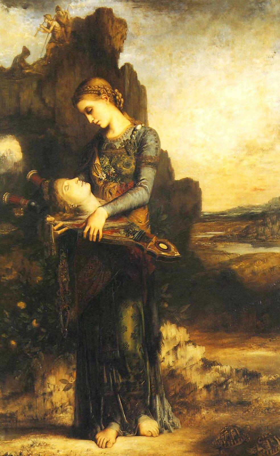"""Fotografia przedstawia obraz Gustave Moreau pt. """"Orfeusz"""" z1865 roku. Obraz jest interpretacją mitu oOrfeuszu. Dzieło Moreau przedstawia tracką młodą kobietę, która wydobyła głowę zrzeki ipołożyła na kitarze (lub lirze), tuląc jednocześnie ją do piersi. Postać dziewczyny rozświetlana jest światłem, ajej regularny profil kontrastuje zrozmytym masywem górskim. Ztwarzy mężczyzny emanuje spokój, we włosach widoczna jest ozdobna opaska, ajego loki miękko układają się na instrumencie."""
