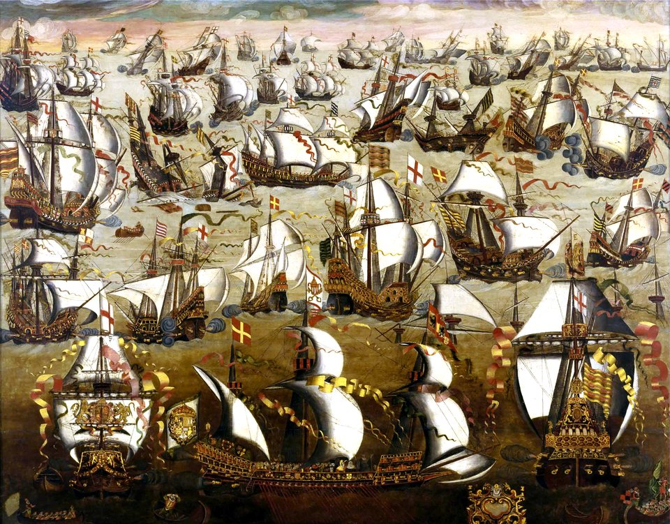 Statki angielskie ihiszpańskie podczas starć związanych zwyprawą wielkiej armady w1588 r. Statki angielskie ihiszpańskie podczas starć związanych zwyprawą wielkiej armady w1588 r. Źródło: XVI w., domena publiczna.